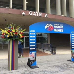 Flower arrangement for WPFG Opening Ceremonies at RFK