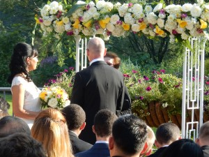 Wedding floral arch at Meadowlark Gardens