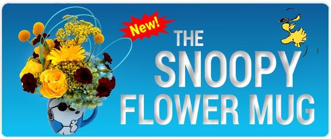 snoopy mug, flowers