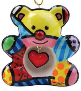 Britto Bear Ceramic Ornament