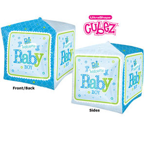"15"" Welcome Baby Boy Cube Balloon"