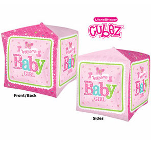 "15"" Welcome Baby Girl Cube Balloon"