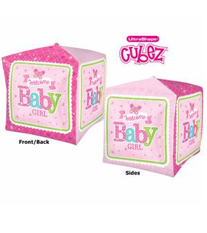 "15"" Welcome Baby Girl Cube Balloon"