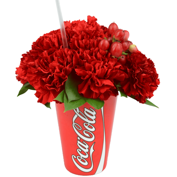 Red Coke Cup with Flowers