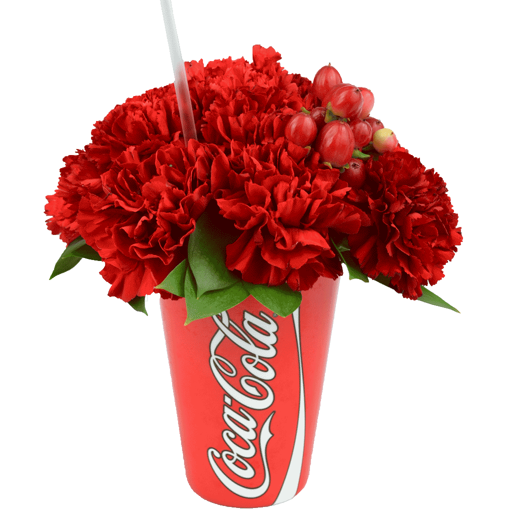 Red Coke Cup with Flowers designed by Karin\'s Florist
