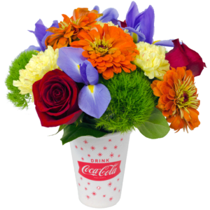 White Coke Cup With flowers