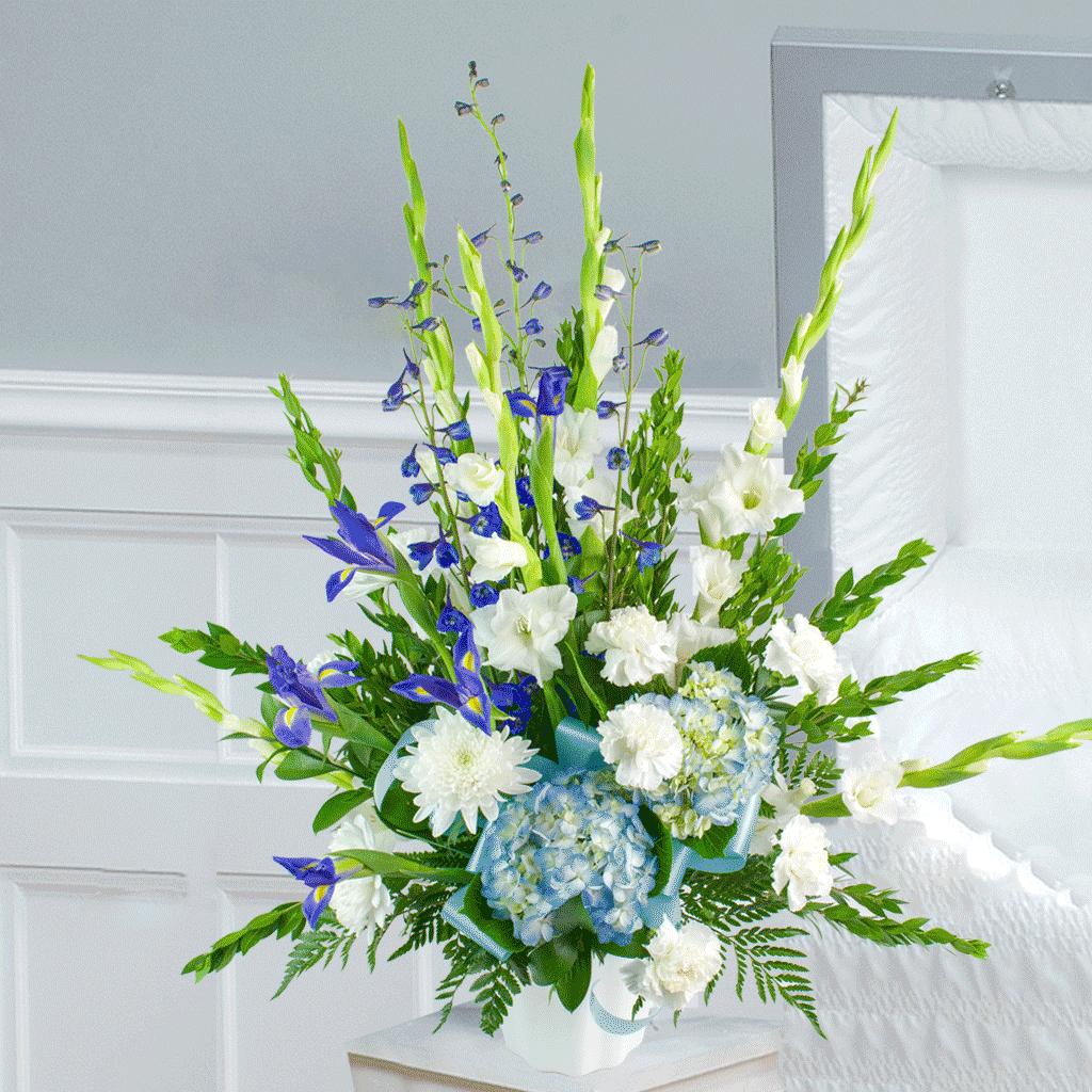 Blue White Funeral Arrangement Flowers Disney Flowers Karin S Florist