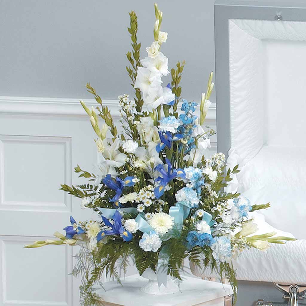 Blue & White Funeral Arrangement