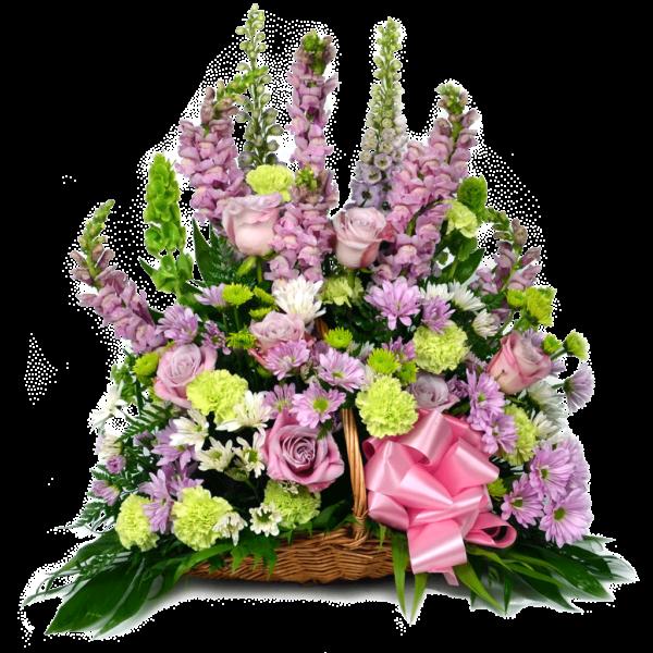 Lavender Funeral Basket Arrangement