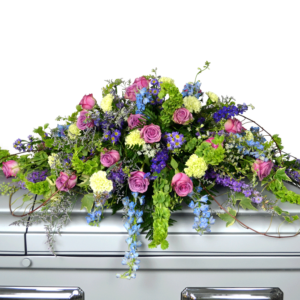 Funeral flowers by karins florist lavender green casket spray dhlflorist Images