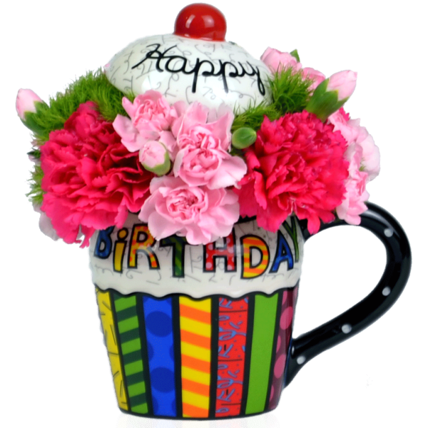 Pink britto birthday cupcake bouquet