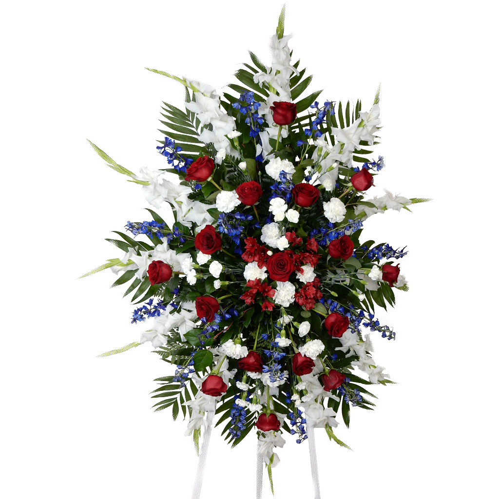 Sympathy flowers funeral flower arrangements by karins florist red white blue standing spray izmirmasajfo Image collections