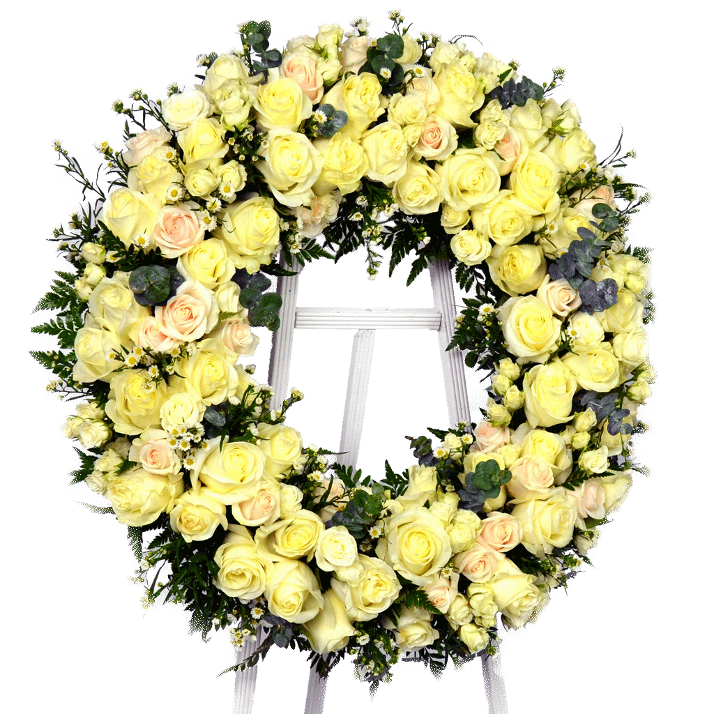 Standing yellow rose wreath mightylinksfo