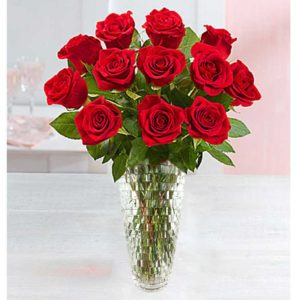 Dozen Premium Red Roses in Upgraded Crystal Vase