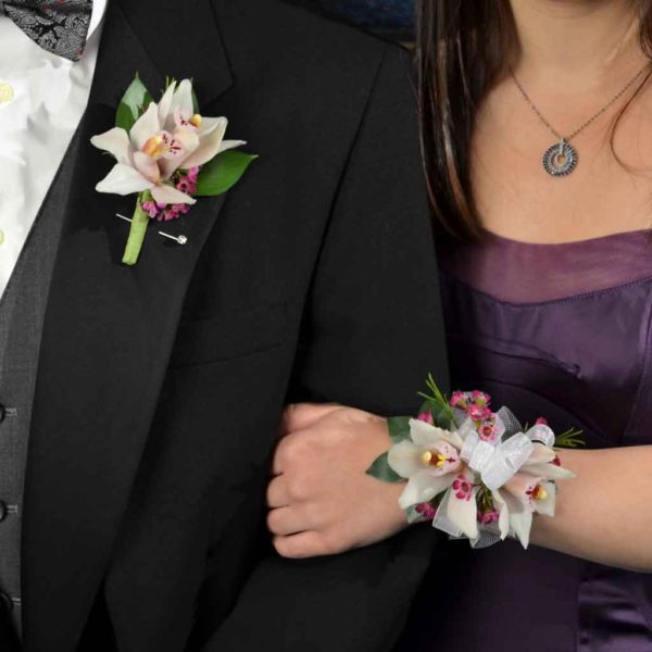 Stunning Cymbidium Boutonniere couple