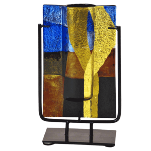 Earth and Sky Rectangle Fused Glass Vase