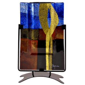 Earth & Sky Tall Rectangle Fused Glass Vase