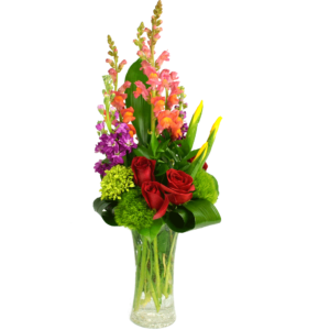 Romantic Garden Bouquet with crackle glass vase