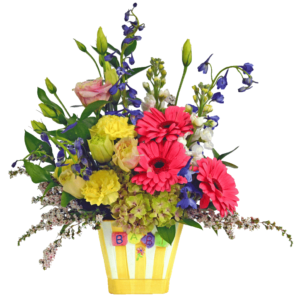 Yellow Striped Baby Vase Bouquet
