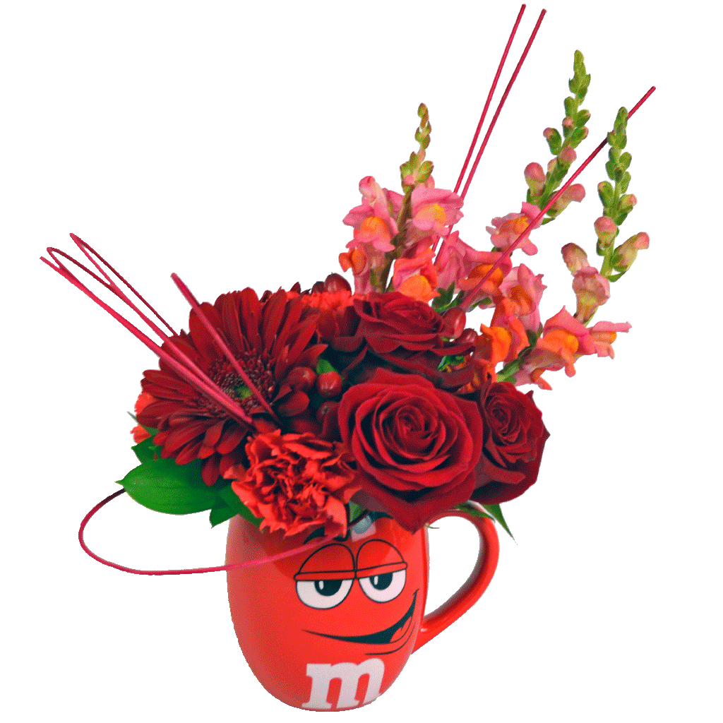 Red M&M Flower Mug