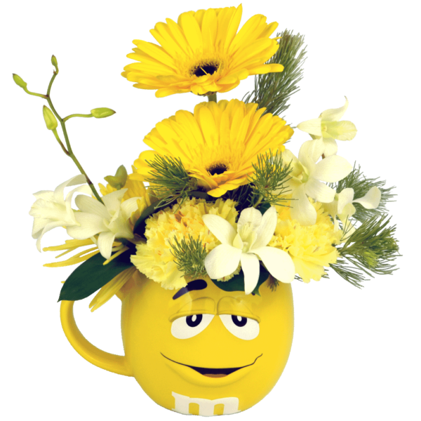Yellow 3D M&M Flower Mug