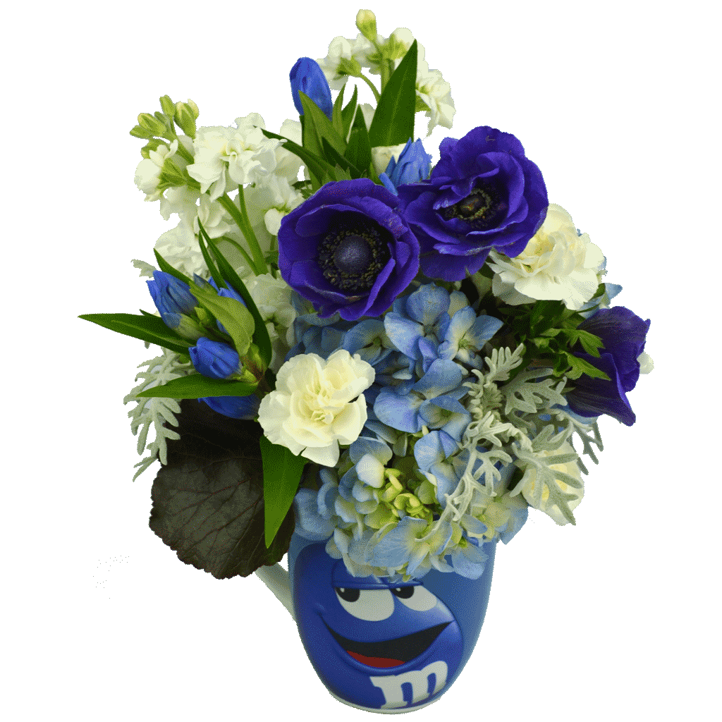 Blue m&m Flower Mug