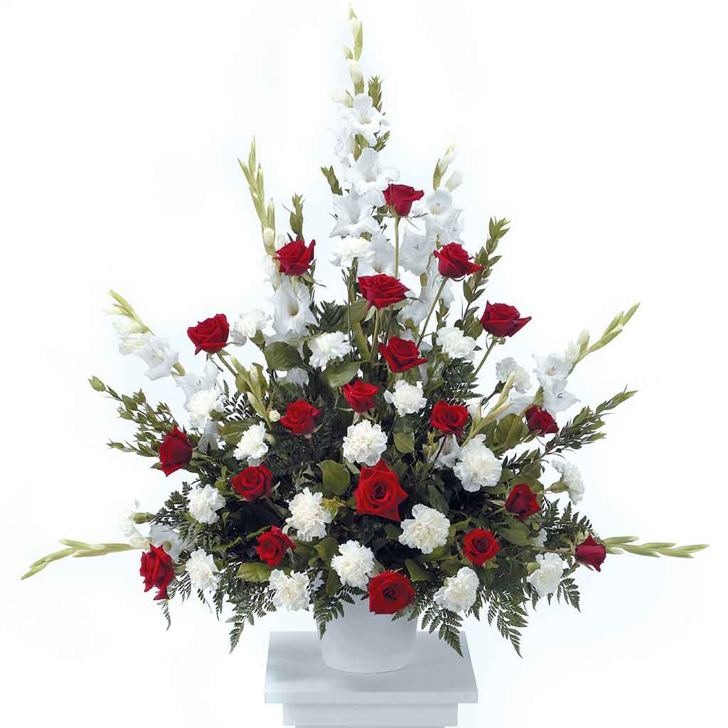 Classic Red & White Funeral Arrangement
