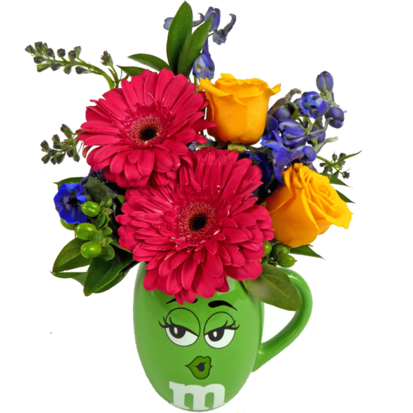 Green m&m flower mug