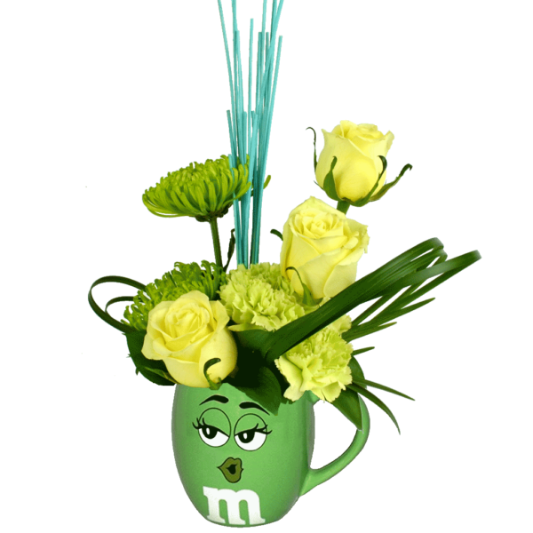 Green m&m Character Flower Mug
