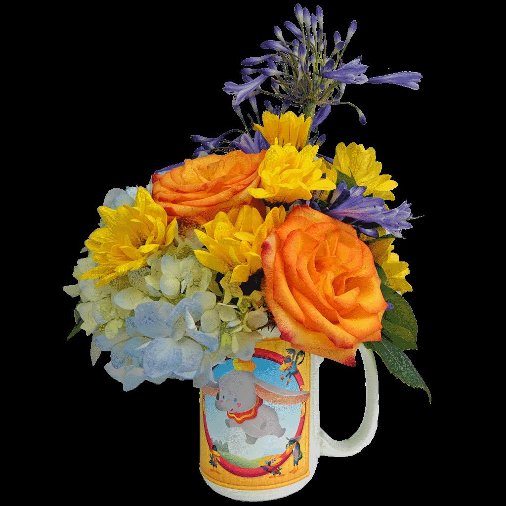Dumbo Cuties Flower Mug - Blue