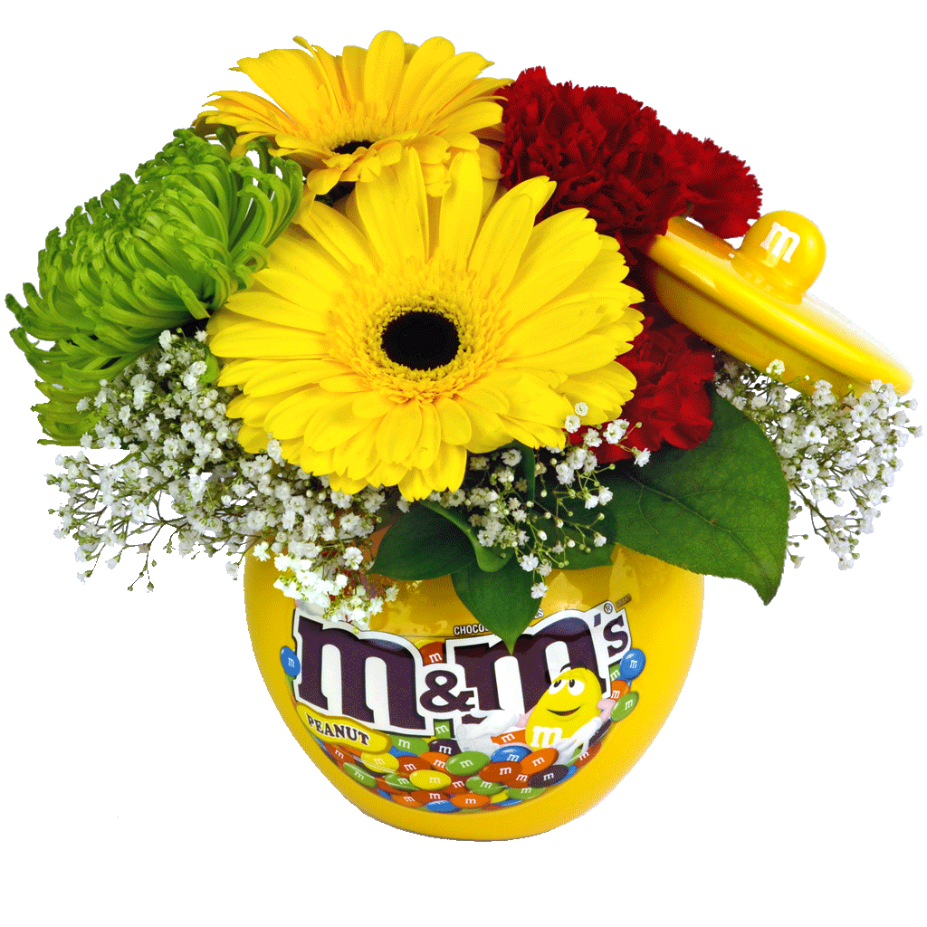 Sweet cheerful mm bouquet designed by karins florist mms character ceramic candy jar with flowers izmirmasajfo