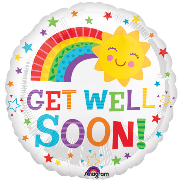 Get Well Rainbow Sunshine Foil Balloon