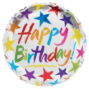 Happy Birthday Stars on Silver Foil Balloon