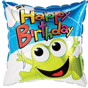 Happy Birthday Leaping Frog Foil Balloon