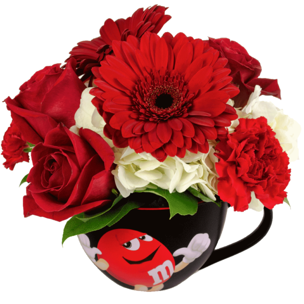 Red m&m Character Cappuccino Flower Mug
