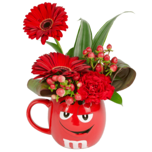 Red m&m Character 3D Flower Mug
