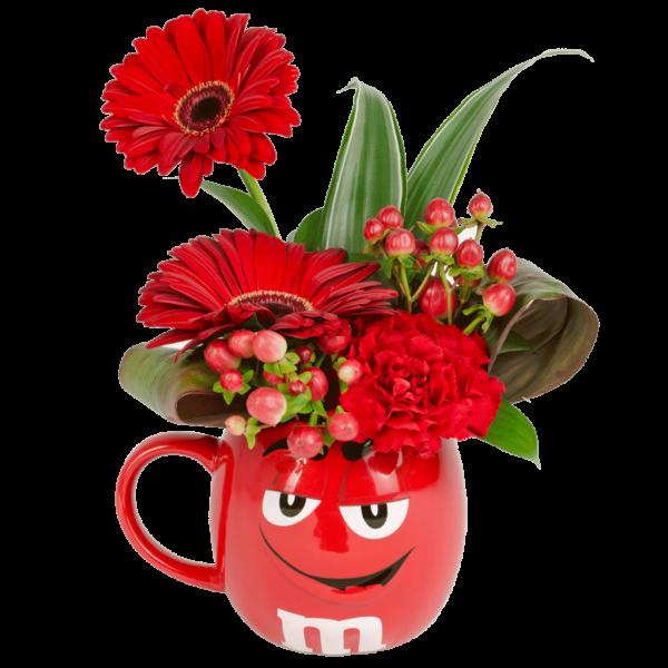 Red m&m Character 3D Flower Mug