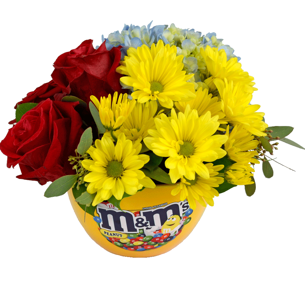 Mm candy dish bouquet designed by karins florist mm candy dish bouquet izmirmasajfo