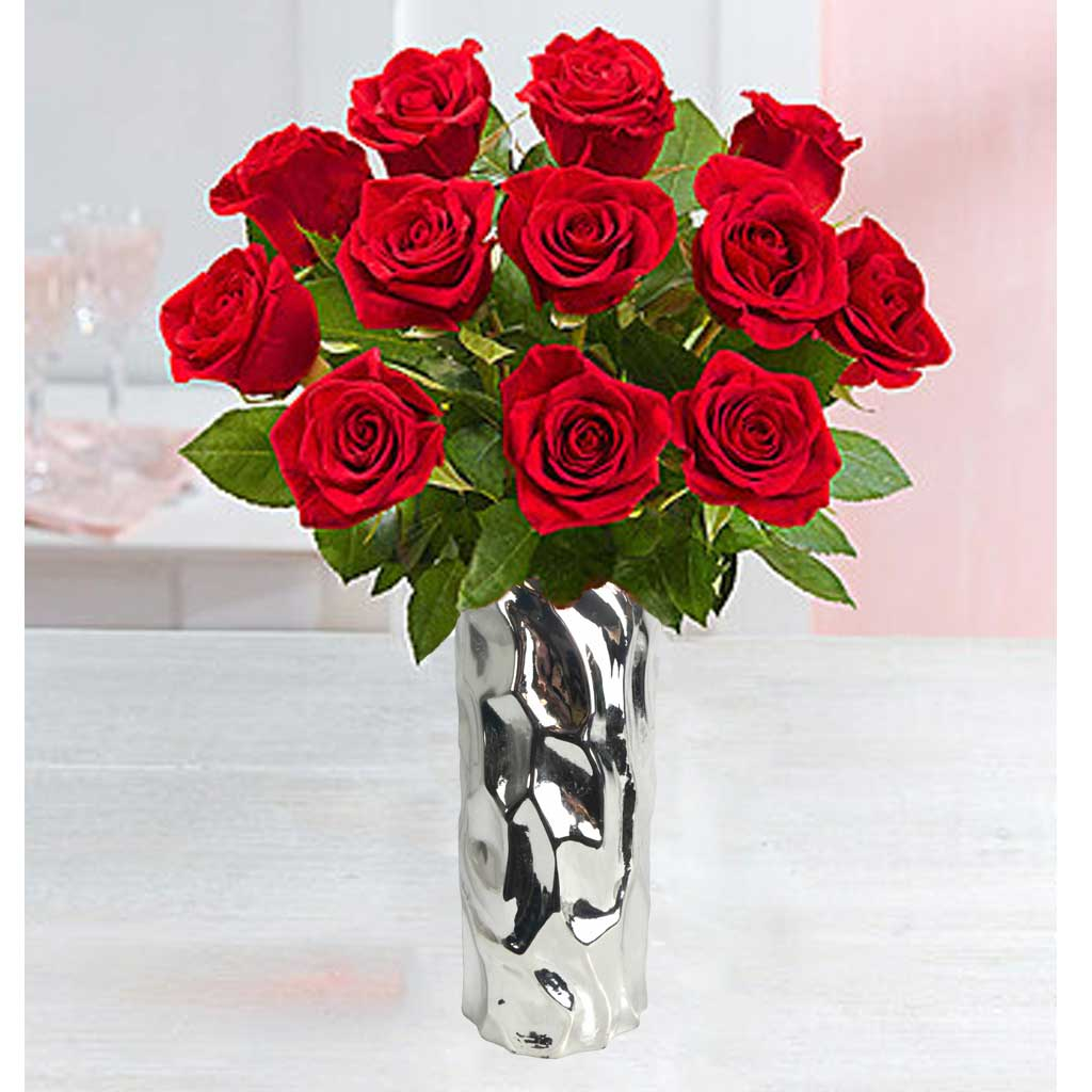 dozen premium red roses in upgraded silver vase from karin 39 s florist. Black Bedroom Furniture Sets. Home Design Ideas