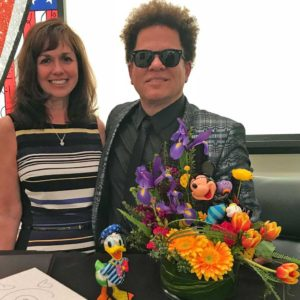 Maris & Britto with the Laughing Mickey Bouquet