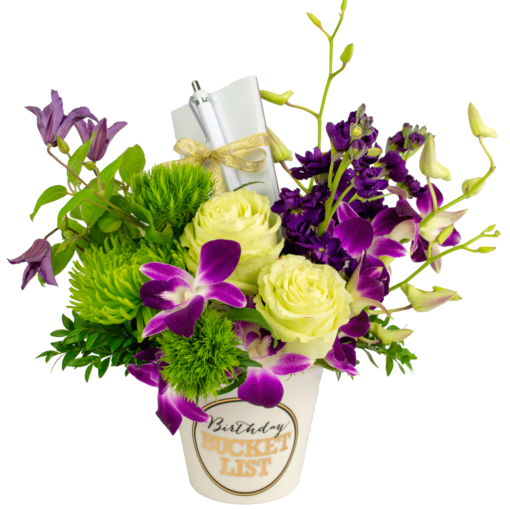 Purple birthday bucket list bouquet designed by karins florist purple birthday bucket list bouquet izmirmasajfo