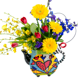 Britto A New Day Tea Pot Bouquet