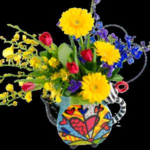 Britto A New Day Tea Pot Bouquet