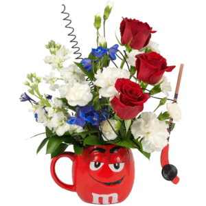 Rock Our Red m&m Flower Mug