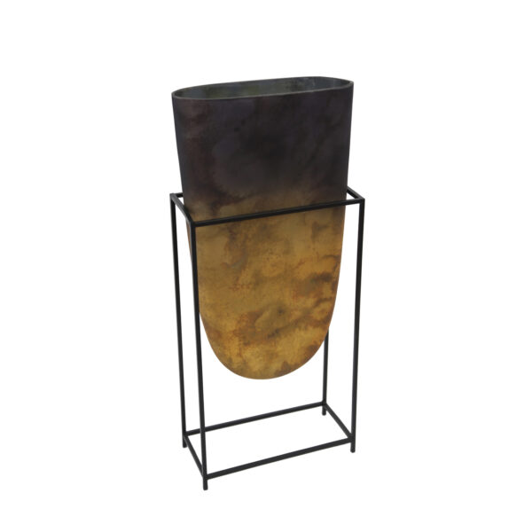 Decorative Glass Vase in Iron Stand