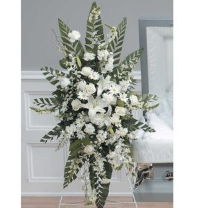 All White Funeral Spray