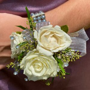 Glorious Green and White Corsage